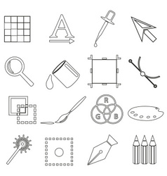 computer graphics black outline icon set eps10 vector image