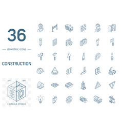 construction industrial isometric line icons 3d vector image