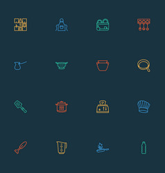 cooking icons line style set with bbq spatula vector image