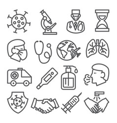coronavirus line icons set on white background vector image