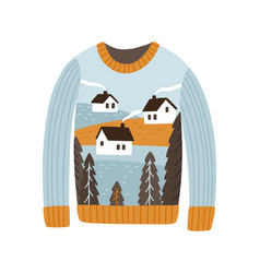 cozy handmade christmas sweater flat vector image