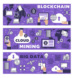 Cryptocurrency cloud mining blockchain data vector