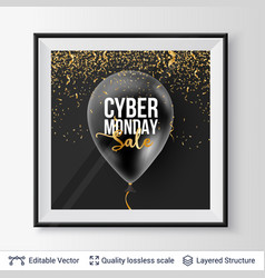 Cyber monday sale background with balloons vector