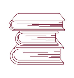 Dark red line contour with collection of books vector