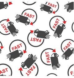 delivery truck seamless pattern background vector image