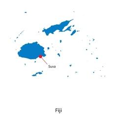 Detailed map of Fiji and capital city Suva vector
