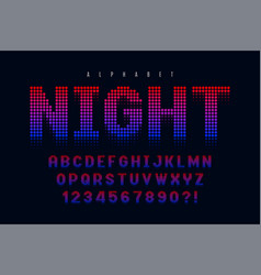 dotted halftoned display font design alphabet and vector image