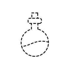 Dotted shape erlenmeyer flak with chemical potion vector