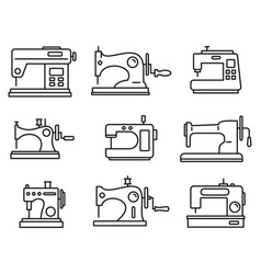 Fabric sew machine icon set outline style vector