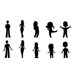 family silhouettes - dad mom daughter son daug vector image
