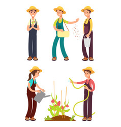 female farmers cartoon set isolated on vector image