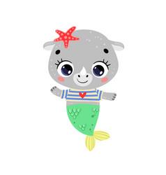 Flat cute cartoon rhino mermaid vector