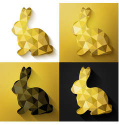 Flat design polygon of golden bunny isolated vector