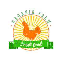 Fresh food logo with chicken label with grunge vector
