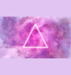 Galaxy background with neon triangle vector