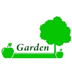 Garden background with green apple vector