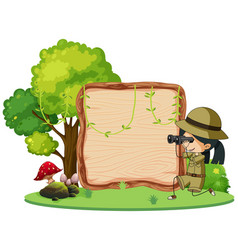 Girl scout with binoculars on wooden signboard vector