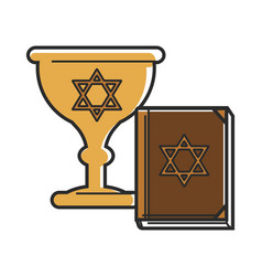 Gold goblet and holy book with david stars vector
