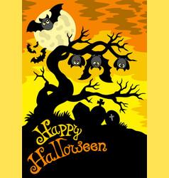 halloween cemetery silhouette 2 vector image