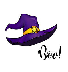 halloween purple witch hat vector image