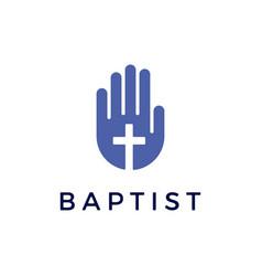 hand christian cross baptist logo icon vector image