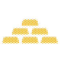 Hexagon halftone treasure bricks icon vector