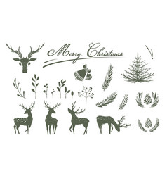 holiday christmas or new year monochrome black and vector image
