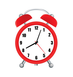ilustration red alarm clock over white vector image