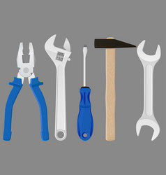 industrial tools kit - pliers adjustable wrench vector image