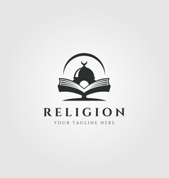 Islamic institution with mosque logo symbol vector