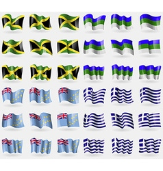 Jamaica Komi Tuvalu Greece Set of 36 flags of the vector