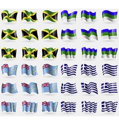 Jamaica Komi Tuvalu Greece Set of 36 flags of the vector