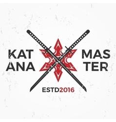 Japanese Ninja Logo Katana master insignia design vector