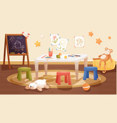 kindergarten interior design with table chairs vector image
