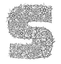 letter s dudling drawing mandala vector image