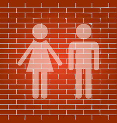 male and female sign whitish icon on vector image