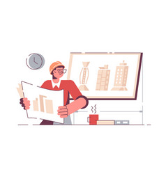 man architect holding drawing new project vector image