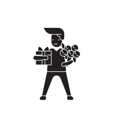 man with giftbox and flowers black concept vector image
