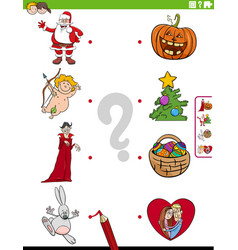 Match holidays characters and symbols educational vector