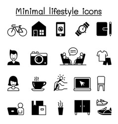 Minimal lifestyle hipster icons set graphic design vector