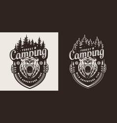 Monochrome summer camping emblem vector