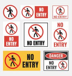 No entry sign set access label vector