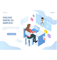 online medical service theme with woman on laptop vector image
