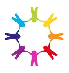 Paper cut people circle vector