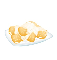Potato in Coconut Milk on White Background vector