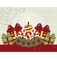 Retro Christmas background with candle vector image