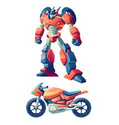 Robot transforming in motorcycle cartoon vector