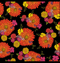 seamless flower pattern aster daisy petunia vector image