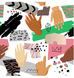Seamless pattern with hands hand drawn childish vector