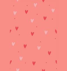 seamless pattern with hearts on a pink background vector image